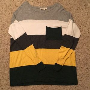 Soft thin color block sweater L